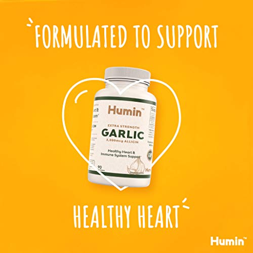 Garlic Supplement with 5000mcg of Allicin - Easy to Swallow Tablets for Extra Strength Heart Health & Blood Pressure Support - Vegan & Non-GMO - 90 Day Supply