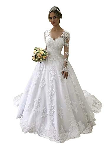 LeoGirl Women's Vintage Long Sleeves Wedding Dresses for Bride Lace Appliques Bridal Dress Ball Gowns Ivory 22 Plus
