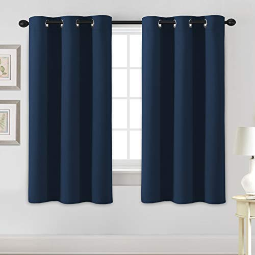 H.VERSAILTEX Blackout Curtains for Bedroom Thermal Insulated Room Darkening Living Room Curtains 63 Inch Long Grommet Privacy Protection Window Curtain Panels/Drapes for Nursery, 2 Panels, Navy Blue