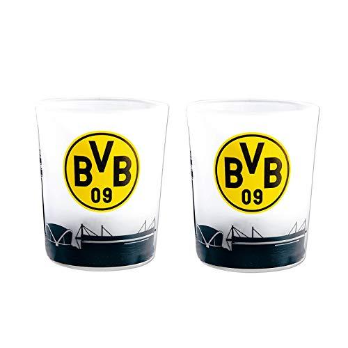 Borussia Dortmund Unisex Bvb-teelichtgläschen (2 Stück) Teelichter, transparent, Einheitsgröße