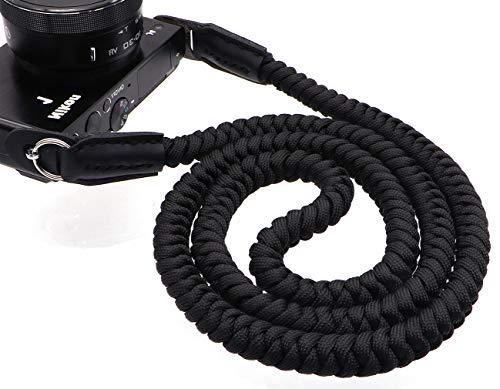 INPON カメラストラップ パラコード編み ネックストラップ ショルダーストラップ 丸リング リングカバー付き 一眼レフ ミラーレスカメラ用 ブラック 線径13mm 全長105cm