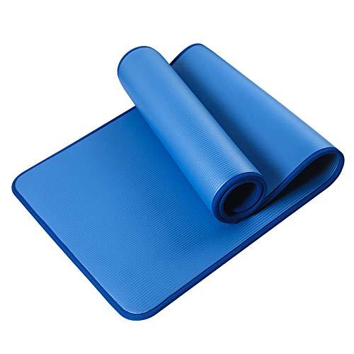 C/N Esterilla de yoga gruesa de la aptitud del gimnasio antideslizante de la estera de yoga NBR Pad ribete para el ejercicio deportivo gimnasia azul