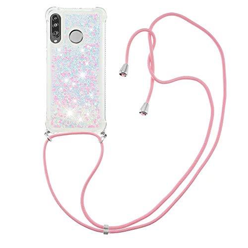 Nadoli Handykette Hülle für Huawei P30 Lite,Durchsichtig Glitzer Treibsand Flüssigkeit Silikon Handykordel Necklace Schutzhülle Handyhülle mit Umhängeband