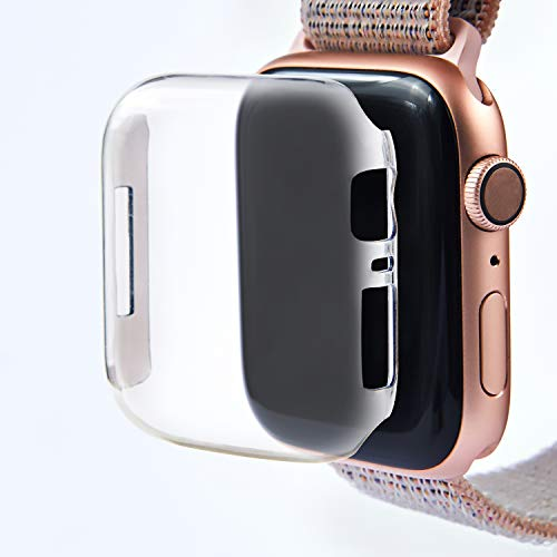 Leotop Compatible with Apple Watch Case 40mm 44mm, PC Hard Clear Screen Protector Full Cover Thin Snap-On Anti-Scratch Lightweight Bumper Compatible iWatch Series 6 5 4 SE (Clear, 44mm)