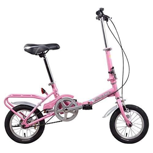 Student Faltrad Fahrrad, Licht Kinder Tragbare Mountainbike, 12Inch Dämpfende Fahrrad, Jungen und Mädchen Kleine Minifahrrad, einstellbare Höhe Lenker und Sitz (Color : Pink, Size : 12Inch)