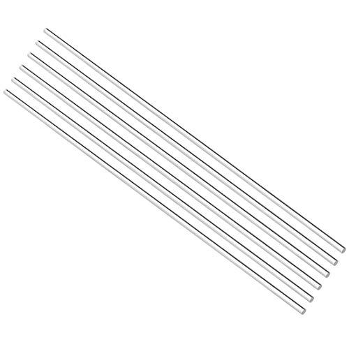 DealMux Acrylrundstab, 2 mm Durchmesser, 8 Zoll Länge, klar, aus massivem Plxi-Glas, Kunststoff, Lucite, PMMA-Stab, 6-tlg