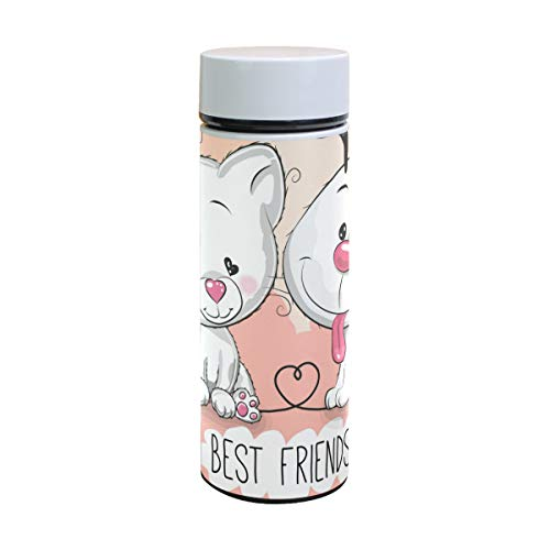 U Life Cute Cat and Dog Best Friend Insulated Water Bottle Vacuum Flask Thermos Cup Tumbler for Women Men Boys Girls Kids Stainless Steel 350ml