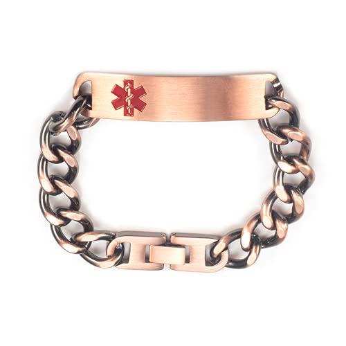 Pulsera de identificación de alerta médica de cadena de cobre puro pregrabada para mujeres y hombres, longitud: 19 – 22 cm ajustable, ancho: 12 mm