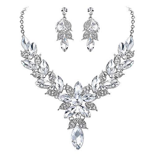 EVER FAITH Juego de collar y pendientes de cristal para mujer, diseño de hojas, color plateado