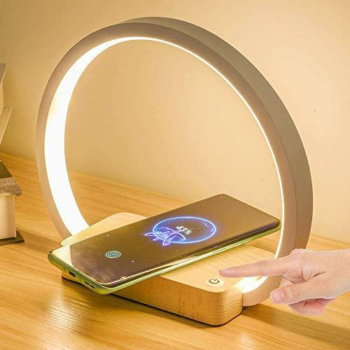 Syyshyin Lámpara de noche multifuncional con cargador inalámbrico Lámpara de escritorio LED blanca, adaptador de 5 V 2 A, 3 modos de iluminación, lámparas de mesa de control táctil, luz de lectura par