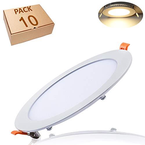 Yafido 10 Stück Led Panel Ultraslim Einbauleuchte 12W ersetzt 70W Halogen 3000K 960 Lumen Rund Spot Deckenlampe 230V Flach Einbaustrahler mit Teriber Nicht-dimmbar Ø170 x 11mm
