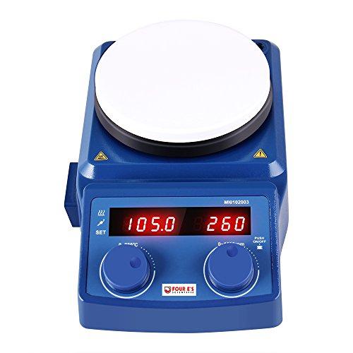 Four E's 5 Inch LED Digital Hotplate Magnetic Stirrer, Equip with Temp Probe Sensor and Stir Bar, 50-1500RPM -US Plug