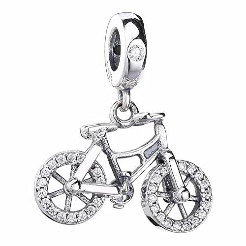 WUXEGHK Original Brilliant Fahrrad Mit Kristall Anhänger Perlen Fit 925 Sterling Silber Charm Europa Armband Armreif DIY Schmuck