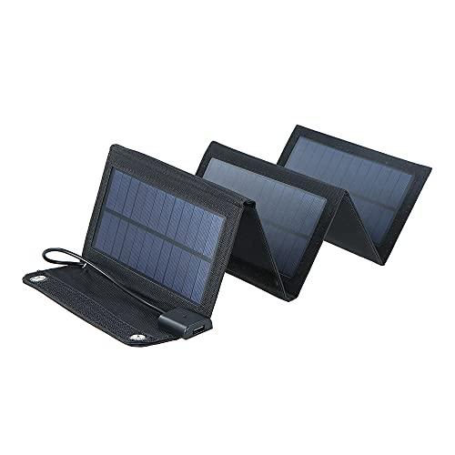 Cucudy Carregador Solar de 20 W, Dobrável, Portátil, com 2 Portas USB