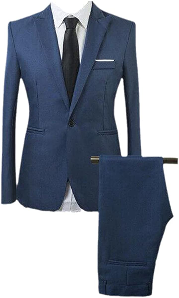 Apparel Men's Blazer Set Slim fit Tuxedo Jacket Pants Formal Dinner Wedding Groom