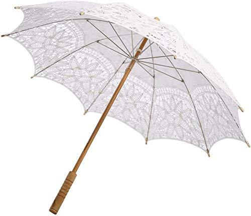 Parapluie Parapluie en Dentelle Blanche Wingbind, parapluies Demoiselle d'honneur, Parapluie Style rétro européen avec poignée en Bois, Parasol Femmes, Filles, décoration séance Photo Mariage