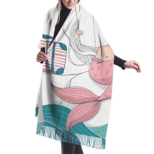 BOTAO 27'x77' Girls Wrap Shawl Digital Mermaid Suitcase Lost Sea Womans Scarf Woman Cashmere Scarf Stylish Large Warm Blanket Black
