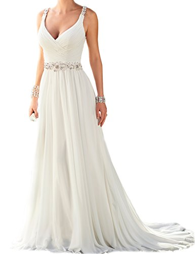 SongsurpriseMall Hochzeitskleider Chiffon Damen Perlen V Ausschnitt Schlsselloch groe Gren Brautkleider Wei EU38