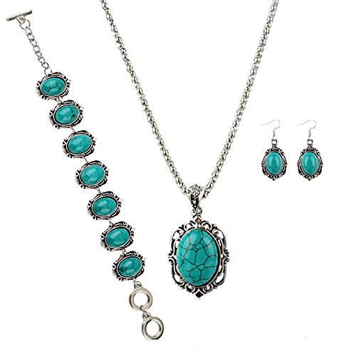 Bodhi2000 Conjuntos de joyas para mujer, conjunto de collar de moda, 4 piezas / set vintage imitación turquesa flor colgante collar gancho pendientes pulsera verde