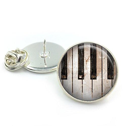 Versilbert Klaviertasten Revers Pin Abzeichen| Klavier| Klavierkunst| Klaviertasten| Musik| Geschenk für ihn| Geschenk für sie| Musiker Geschenk| Musiklehrer Geschenk|