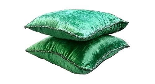 Green Shimmer - Decorativa Funda de Cojin 35 x 35 cm, Square Verde Esmeralda Terciopelo Frontera de Cuentas Hecho A Mano