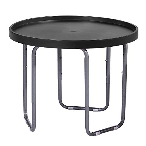 Tufff Spot Children's Round Utility Mixing Play Tray Table - BLACK (60cm Dia) with Height Adjustable Stand.