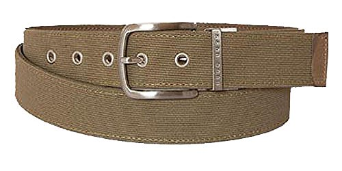 BOSS Ceinture unisex woven and leather reversible, grey 90cm