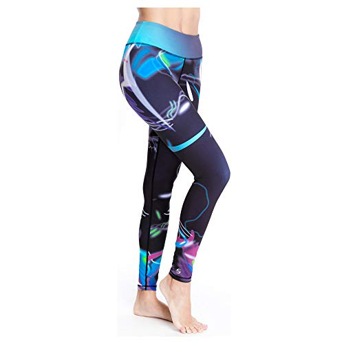 Platinum Sun Printed Sport Leggings Tights for Women UPF 50+ - Mystica - S Purple