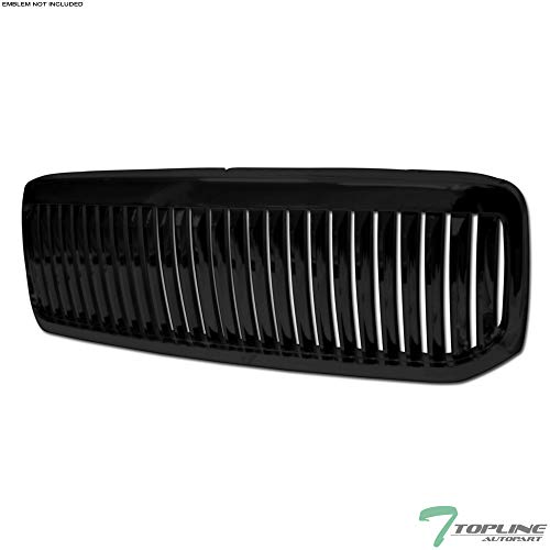 Topline Autopart Black Vertical Badgeless Front Hood Bumper Grill Grille ABS For 99-04 Ford F250 F350 Super Duty / 00-04 Excursion