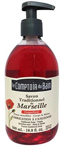 Le Comptoir du Bain Savon de Marseille Liquide Coquelicot 500 ml - lot de 3