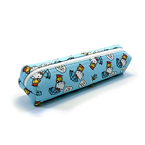 Sanrio Hello Kitty Pencil Case Multi-Purpose Pouch 1pc: Playing with Kitty (Blue)