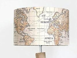 abat jour carte du monde globe mappemonde planisphère voyage Luminaire cylindre rond idée cadeau anniversaire fête des...