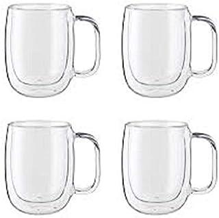 طقم فناجين قهوة زجاج مزدوج 4 قطع، 250 مل