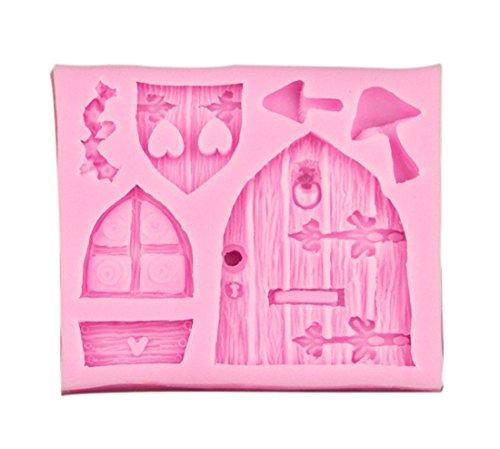 Molde de pastel - TOOGOO(R) Molde de azucarero pastel de chocolate fondant de silicona de puerta de casa de hadas 3D Herramienta de molde