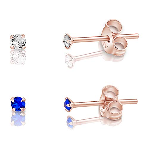 DTPSilver - Set of 2 PAIRS of 925 Sterling Silver Rose Gold plated Round TINY Stud Earrings made with Glittering Crystals from Swarovski Elements - Diameter: 2 mm - Colour : Majectic Blue