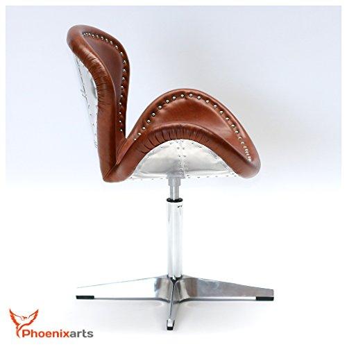 Phoenixarts Echtleder Vintage Ledersessel Braun Design Sessel Loft Drehsessel Lounge Clubsessel Möbel NEU 537 - 4