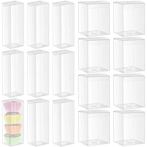 26 Pcs Caja de embalaje de PVC, diseño transparente, utiliza para envolver pasteles y regalos de cumpleaños