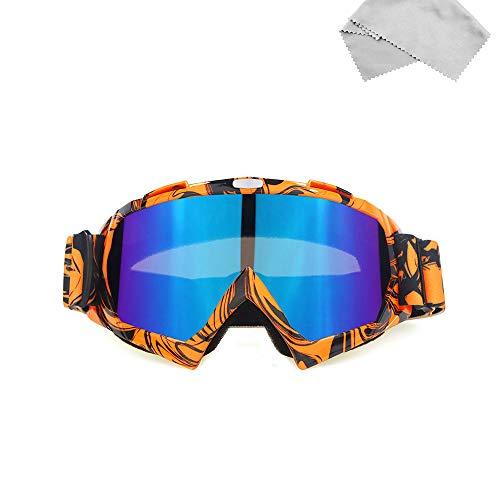 Sport im Freien Motorradbrille Bunt Motocross Brille Taktische Airsoft-Brille UV Schutz mit Mikrofaser Brillenputztuch für Skifahren Radfahren Snowboard Wandern Augenschutz (Orange)