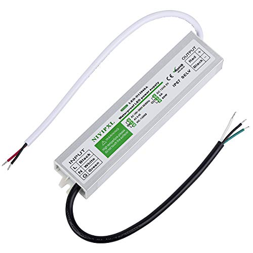 LED Driver 60 Watts Waterproof IP67 Power Supply Transformer Adapter 100V-260V AC to 12V DC Low Voltage Output for LED Light, Computer Project, Outdoor Light and any 12V DC led lights