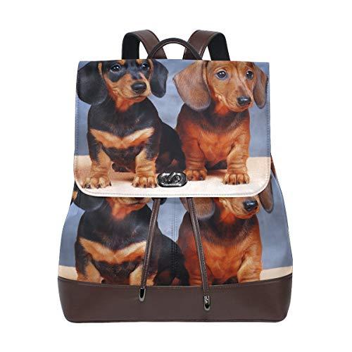 Coosun Damen-Rucksack aus PU-Leder mit Dackel-Motiv, für Reisen, Schule, Freizeit, Tagesrucksack