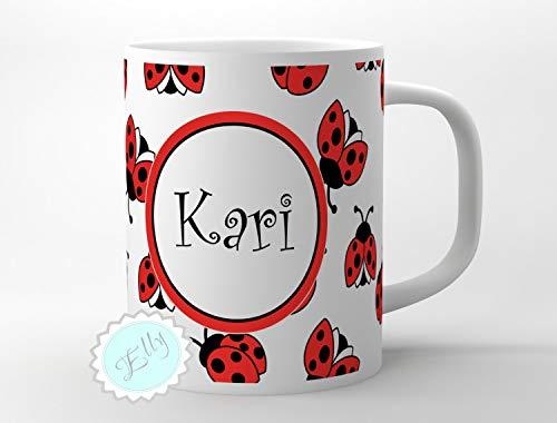 Taza de café con nombre personalizado, diseño de mariquitas rojas, regalo personalizado para niñas, diseño de mariquitas, regalo para padres