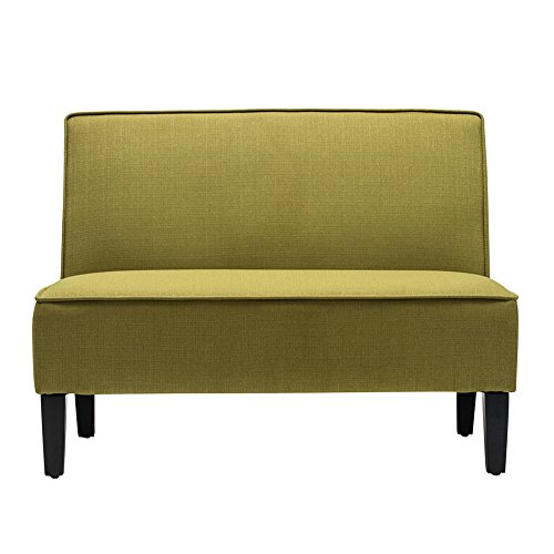 Cushioned Linen Armless Settee Loveseat Sofa Couch Home Casual Living Room Recliner (Green)