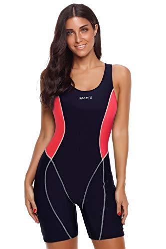 CrazycatZ Damen Einteiler Badeanzug Schwimmanzug mit längerem Bein Legsuit Bademode (Black RED, XXL EU 44)