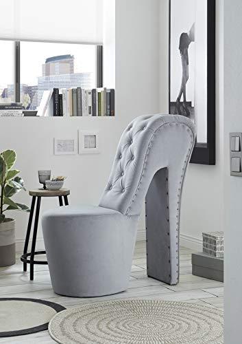 Generisch Schuhsessel Retro-Look Knopfsteppung Sessel Stuhl High Heel (Trinity Grey 14)