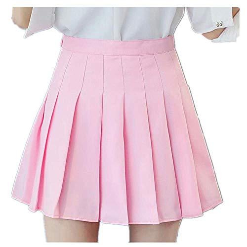 N\P Falda corta de cintura alta plisada para estudiantes, falda preppy para mujer, linda y dulce, para bailar, color negro y blanco
