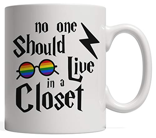 No One Should Live in a Closet Potter Gift, Scar and Rainbow Glasses | Gay Pride LGBTQ Community Flag Mug - Support & Awareness