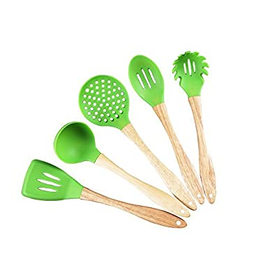 Silicone Kitchen Utensils Set BPA Free Cooking Utensils for Nonstick Cookware Set of 5 - Perfect for Teflon or Ceramic Nonstick Kitchen Products