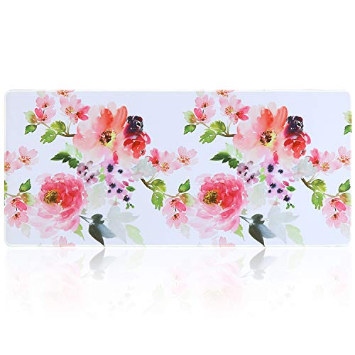 iLeadon Extended Gaming Mouse Pad - Non-Slip Water-Resistant Rubber Base Computer Keyboard Mouse Mat, 35.1 x 15.75-inch 2.5mm Thick XX-Large, Ideal Partner for Work & Game, Watercolor Flowers