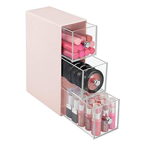 mDesign Organizer Ufficio – 3 cassetti scrivania in plastica per i Trucchi – Pratica Mini cassettiera da scrivania Perfetta Anche per Il Bagno – Rosa Chiaro/Trasparente