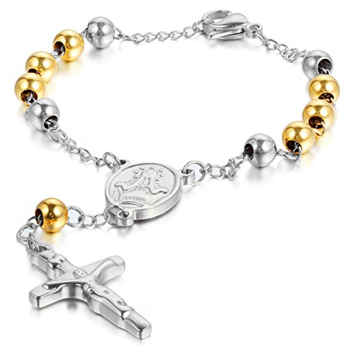 JewelryWe Men Women's Stainless Steel Religious Catholic Rosary Beads Chain Bracelet with Crucifix Cross and Medal, Silver Gold